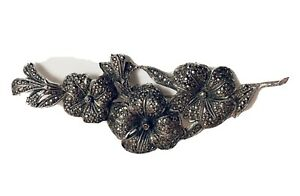 Large-Statement-Marcasite-Flower-Brooch-9-Cm-Vintage-1950s