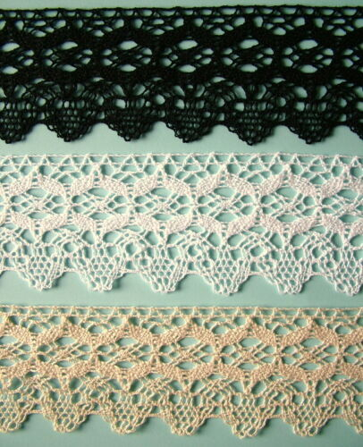 choice 3 colours sold by metre Cotton lace trim 70mm wide trimming
