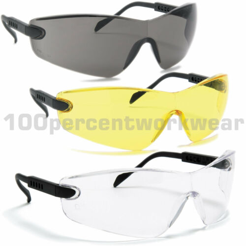 1 x Pair Blackrock Safety Spectacles Specs Glasses with Arm Adjust EN166 Sports
