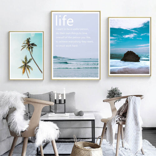 Ocean Sea Landscape Canvas Poster Motivational Life Quote Art Print Home Decor