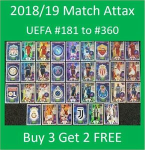 2018/19 UEFA Champions Soccer Cards Match Attax (#199-396) - Buy 3 Get 2 FREE
