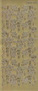 Zier-Sticker-Bogen-Christliche-Motive-Kreuze-mit-Rosen-gold-3514g
