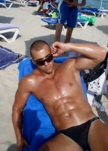 2be188d77d0009 Image is loading Shirtless-Male-Muscular-Beefcake-Beach-Tanned-Hunk-Thong-