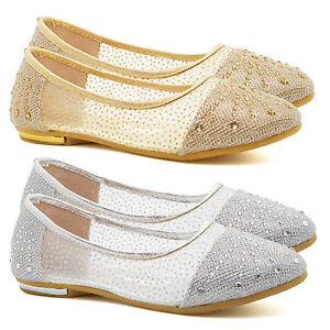 Girls Childrens Diamante Bridesmaid Shoes Kids Flats Party Pumps Ballet Size UK