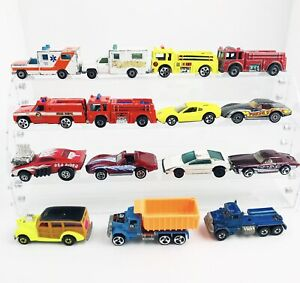 Vintage-Lot-Of-Hot-Wheel-amp-Matchbox-Die-Cast-Vehicles-1970-s-Lot-Of-15-Mixed