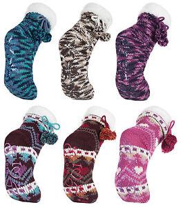 Damen-winter-anti-rutsch-abs-stoppersocken-hausschuhe-pantoffeln-bunt-muster