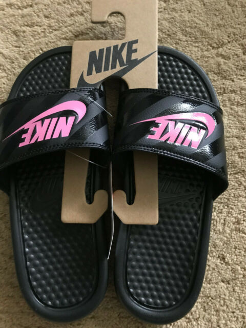 black pink nike slides