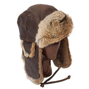 Vintage Rodeo Leather and Rabbit Fur Aviator Hat + Free Rush Shipping