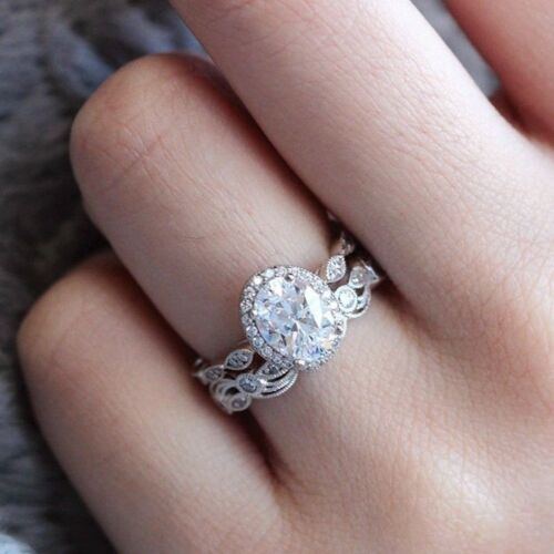 Genuine Sterling 14K Solid Rose Gold Round Diamond Rings Set Ring Gifts