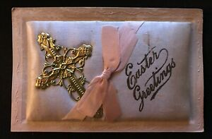 Metal Cross on Puffy Pink Silk Cushion~Antique Novelty Easter Postcard-k269