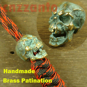 Brass-Patination-Paracord-Bead-Lanyard-Beads-034-Skull-034-for-EDC-gear-LB053B