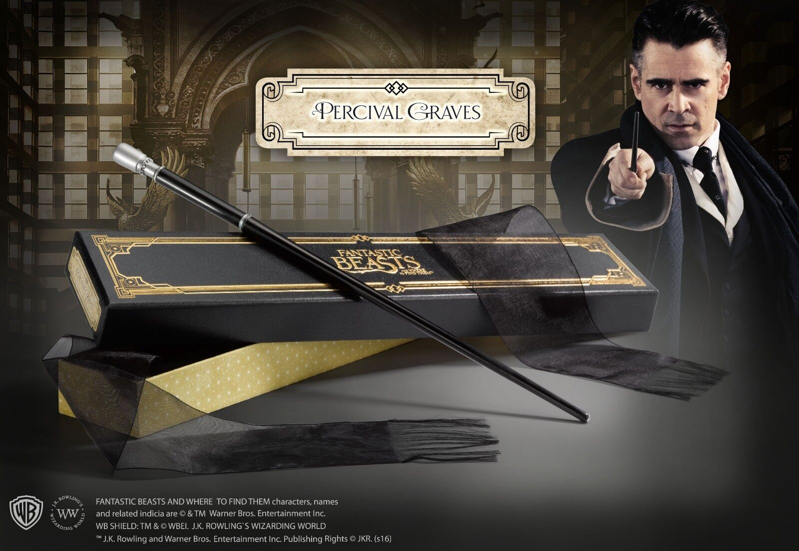 FANTASTIC BEASTS Percival Graves Magic Wand Bacchetta Noble Collection Originale