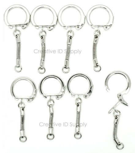 JUMP RING ~ Craft Findings Lot of 100 KEY CHAINS ~ SNAKE CHAIN w// SNAP END
