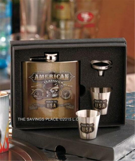 MOTORCYCLE BIKER COLLECTIBLE AMERICAN CLASSICS FLASK SHOT GLASS GIFT BOX SET