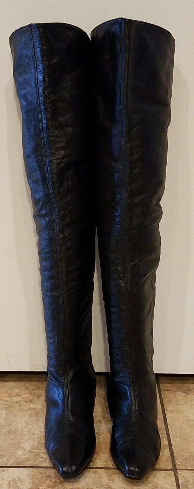 OTK OVER THE KNEE KNEE KNEE WOMAN LACE UP GO GO BOOTS VINTAGE LEATHER TWO LIPS SIZE 6 b7b961