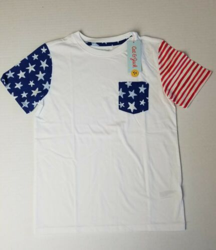 Details about  /Cat and Jack ~ Star and Stripe Americana Patriotic Boys Top ~ M 8//10