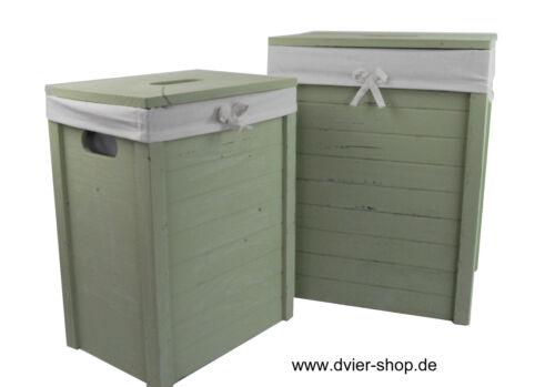 Wäschekorb Echtholz Massivholz Paulownia oliver grün Bezug Deckel Handgriff