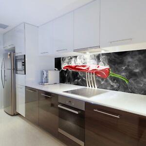 Details zu Tapete Vlies Fototapete für die Küche Red Hot Chili Papers  Paprika auf Gabel