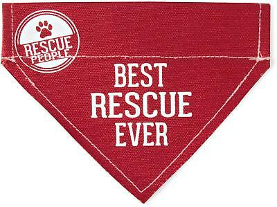 """100% Kwaliteit Best Rescue Ever Bandana New Red Slip On Over Collar Canvas 12""""x8"""" Large Dog"""