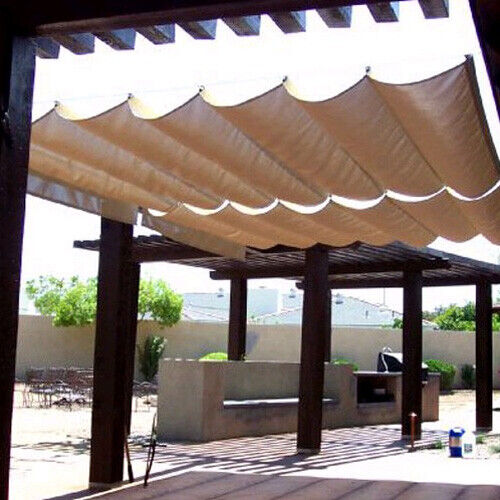 ROMAN SAIL SHADE-WAVE CANOPY COVER-RETRACTABLE OUTDOOR PATIO AWNING