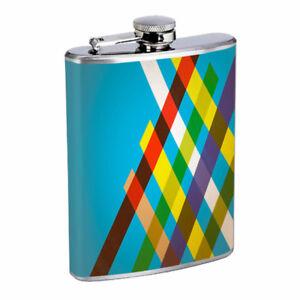 Retro Pattern Em1 Flask 8oz Stainless Steel Hip Drinking Whiskey