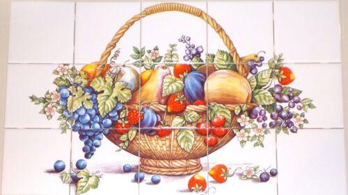 "Bountiful Fruit 15 pc Ceramic Tile Mural 4.25/"" Kiln Fired Decor Back Splash"