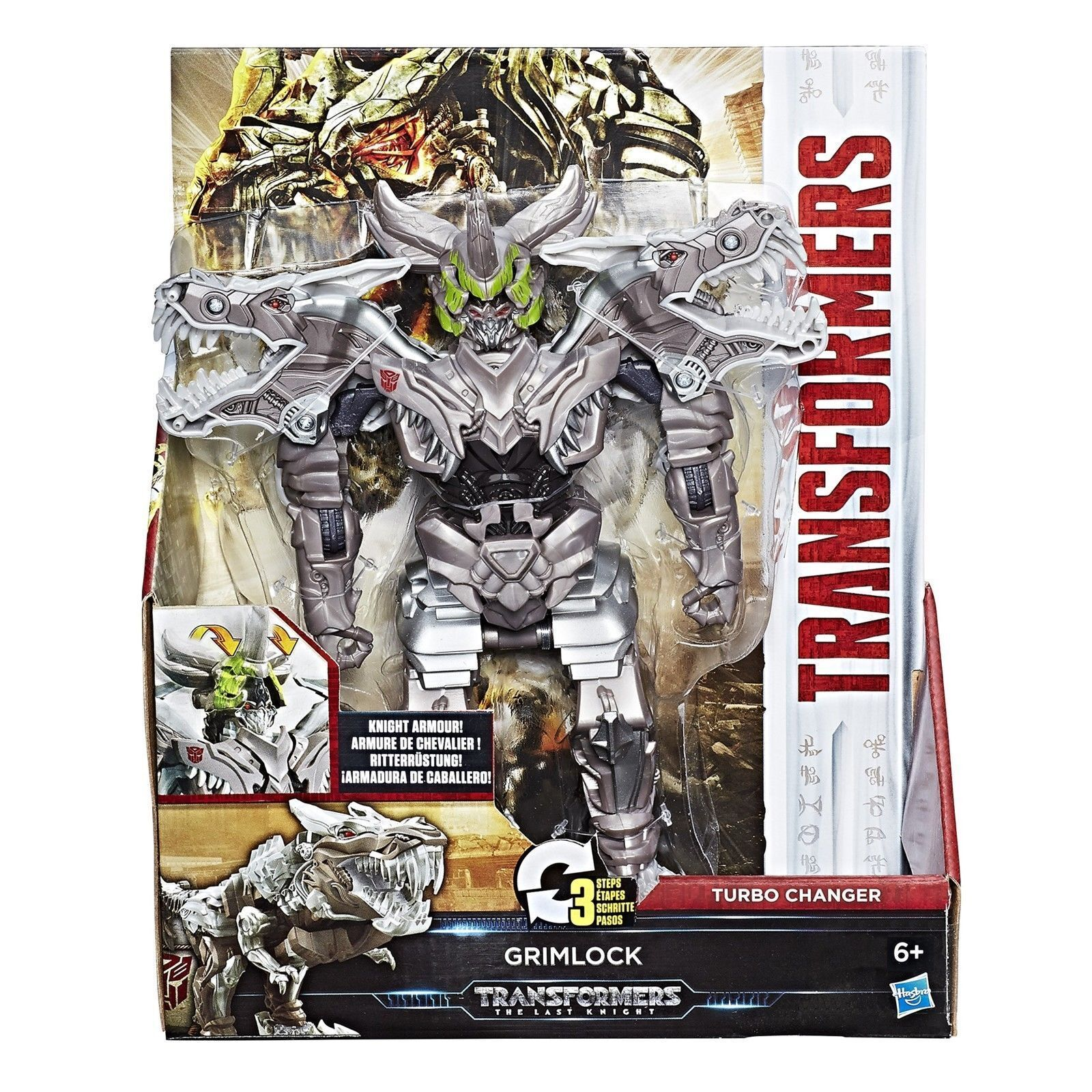 NEW Transformers The Last Knight Knight Knight Armour Turbo Changer Grimlock Dinosaur Trex 753172