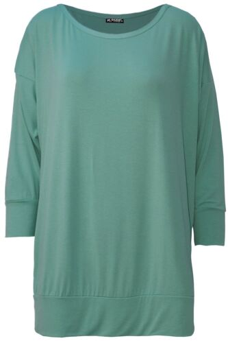New Womens Ladies Oversized Baggy Plain 3//4 Cuffed Sleeve Round Neck Top T Shirt