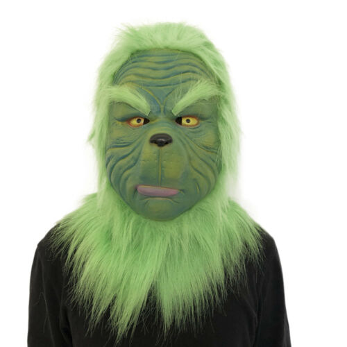 Cosplay Grinch Mask Melting Face Latex Costume Collectible Prop Scary Mask AA