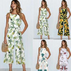 Womens-Floral-Playsuit-Ladies-Summer-Beach-Long-Jumpsuit-Trousers-Size-10-16