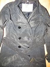 Burberry London Women Ruffle Lace Double Breasted Trench Rain Coat Jacket Sz 2