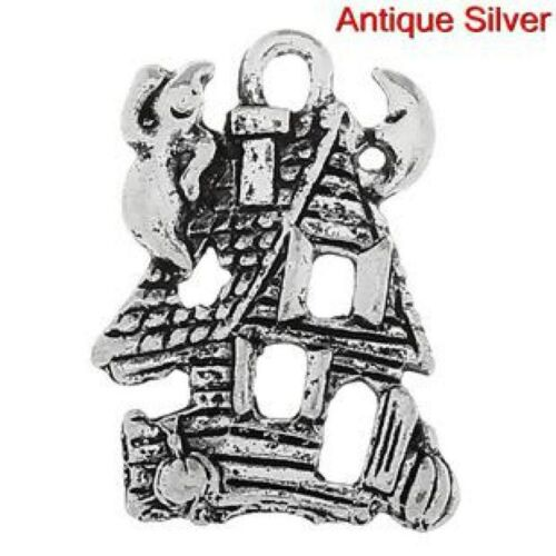 50Pcs Spooky Halloween Party Haunted House Shape Charms Pendant Gift Accessories