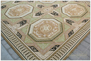8x10 Geometric Aubusson Area Rug Vintage French Decor Wool