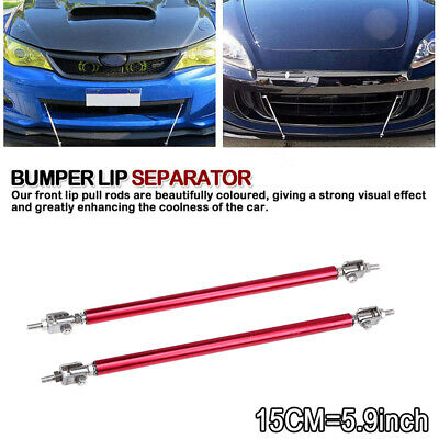 2x Red 15cm Adjustable Bumper Lip Air Splitter Support Rods Strut Tie Bar