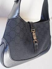 100% Auth GUCCI Black Leather Canvas GG Logo Jackie O Shoulder Hobo Handbag MINT