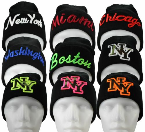 Basic Flap Herren Wintermütze mit Schriftzug NY New York Miami Chicago Boston