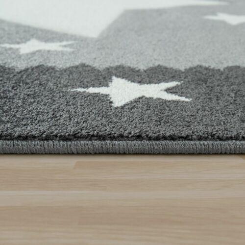 Kurzflor Kinderzimmer Spielteppich Großer Stern Bordüre 3D Effekt In Grau Weiß