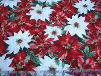 3 Yards Cotton Fabric - Hoffman Christmas Festive Floral Poinsettias Met