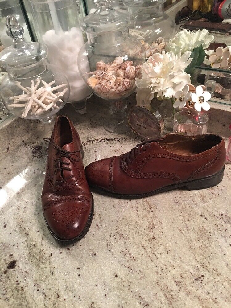 Cole Haan Bragano Brown Leather Wing Tip Oxford Dress shoes Men's 10 D