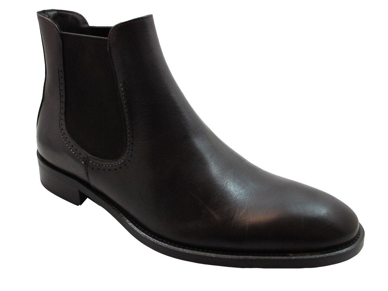 Davinci Men's Italian Ankle Boots Dark Brown 1074