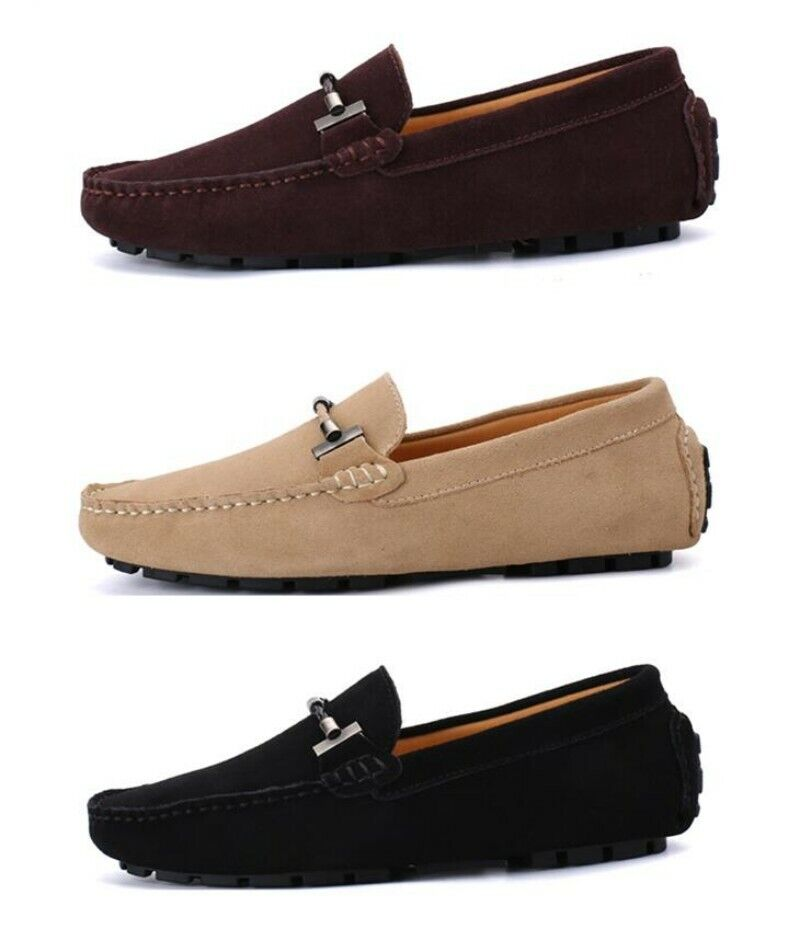 Fashion Men Buckle Suede Loafer Slip On Driving Moccasin Round Toe shoes Formal