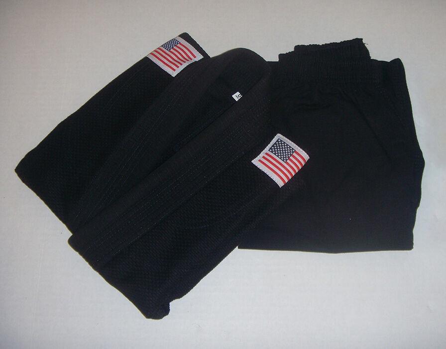 Jiu Jitsu Gi, Kinds  Youth BJJ Uniform, 100% Cotton zwart w Flags, Gratis Shipping