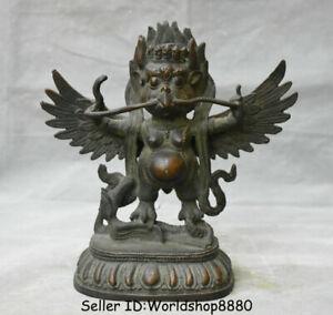 """4/"""" Asian Antique Tibet  Handmade brass Gilt  Garuda bird Buddha statue"""
