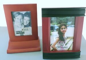 Two Unique Rosewood Photo Frames for Your Desk 3 1/2 x 5 & 4 x 6