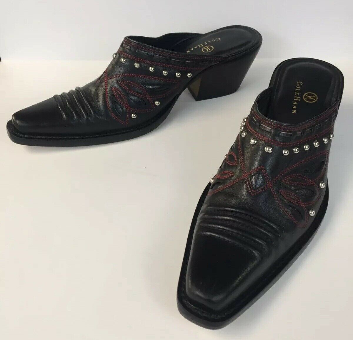 Cole Haan Western Pointy Toe Mules Black And Red With Studs Women's Boots 8.5 M