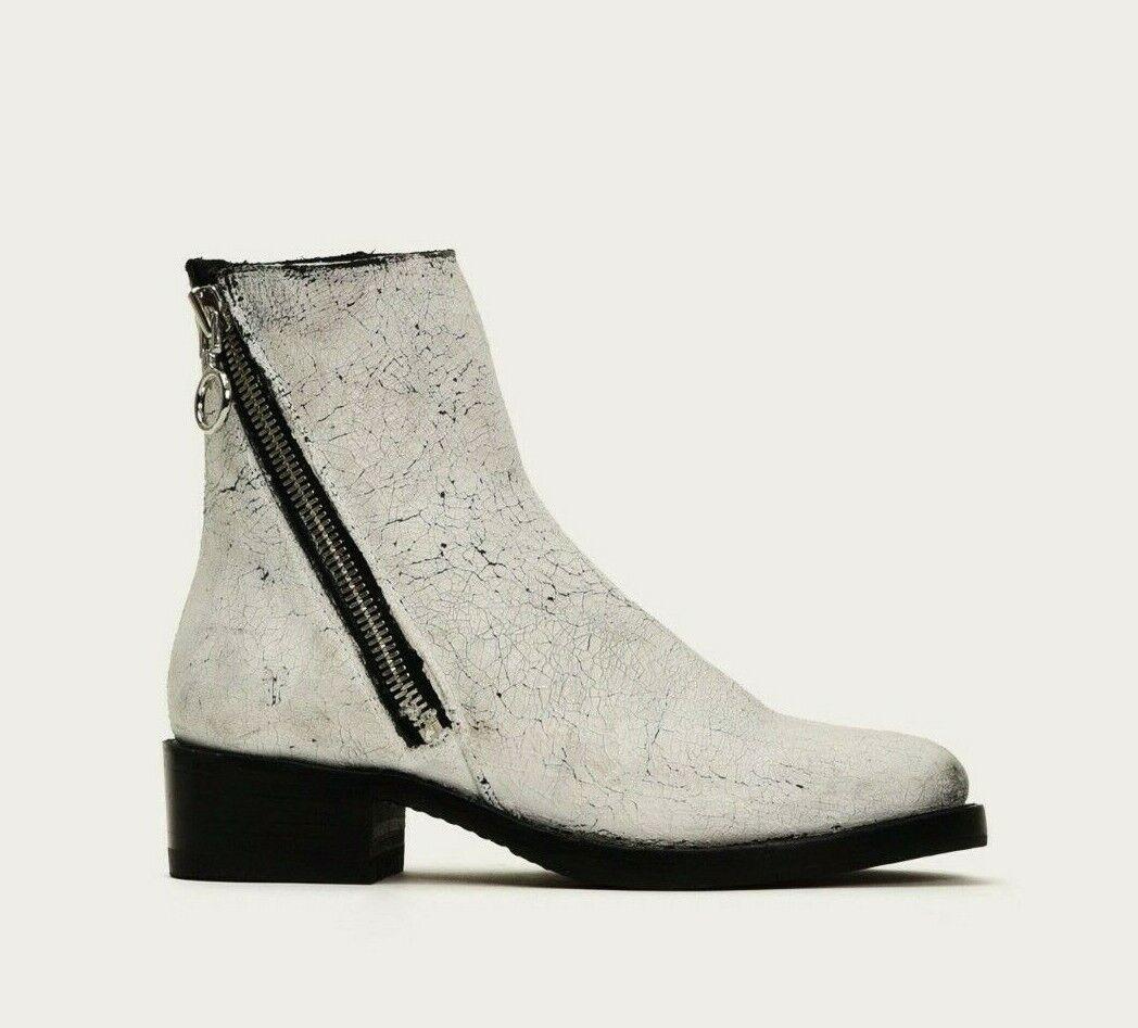 Frye Women's White Demi Crackle Paint Leather Low Heel Zip Booties Size 6 NEW