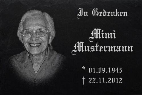 Text Gravur Grabplatte Foto Schiefer- Stein 35 x 25 cm  DS-100 Grabstein