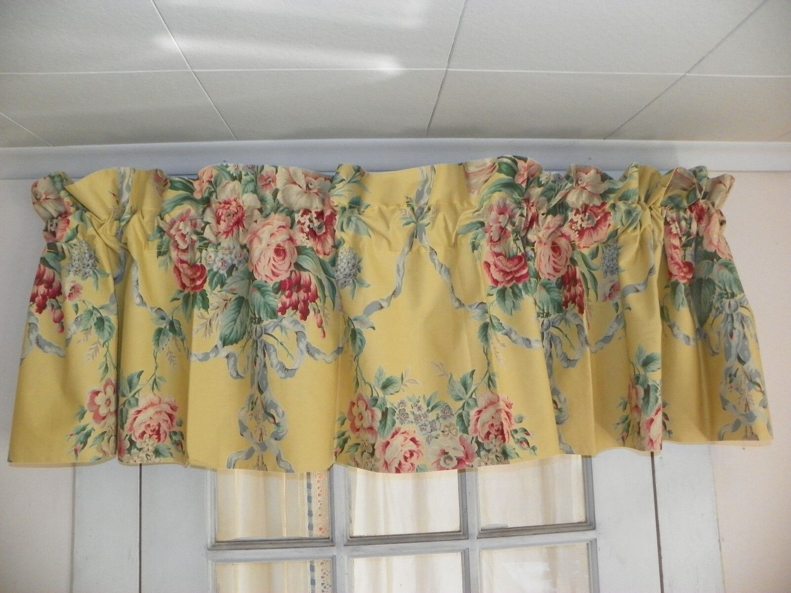 RALPH LAUREN  EVELYN  VALANCE   84  x 17 -Gelb floral  5 AVAILABLE-GORGEOUS