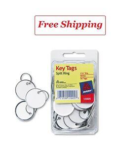 Avery Card Stock Metal Rim Key Tags 1 1//4 dia White 50//Pack 11025
