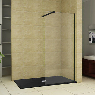 Black Walk In Wet Room Shower Screen Panel Shower Cubicle With Luxury Slate Tray